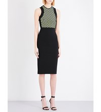 David Koma Macrama And Stretch Crepe Pencil Dress Black Neon Yellow