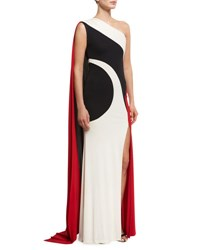 Naeem Khan Colorblock One Shoulder Gown Black Ivory Red Multi Pattern