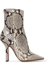 Vetements Boomerang Snake Effect Leather Ankle Boots Snake Print