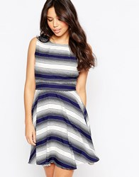 Yumi Striped Skater Dress Navy White