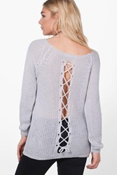 Boohoo Lace Up Back Slouchy Jumper Grey