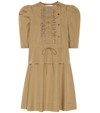 See By Chloe Cotton Minidress Neutrals