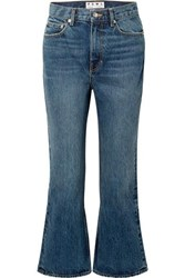 Proenza Schouler Pswl Cropped High Rise Flared Jeans Blue