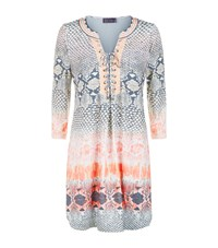 Hale Bob Lace Up Snakeskin Print Jersey Dress Orange