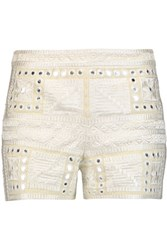 Alice Olivia Marisa Embroidered Broderie Anglaise Trimmed Cotton Shorts Cream