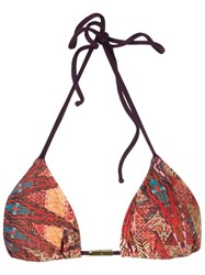 Lygia And Nanny Abstract Print Triangle Bikini Top Pink And Purple