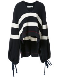 Sonia Rykiel Striped Oversized Sweater Women Cotton Nylon M Blue