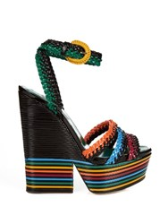 Sergio Rossi Boavista Leather Platform Sandals Black Multi