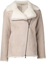 Sofie D'hoore Shearling Jacket Nude And Neutrals