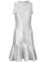 Alexander Mcqueen Flared Mini Dress Silver