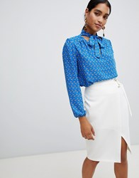 Vesper Floral Long Sleeve Tie Neck Blouse Blue