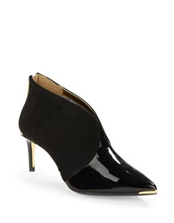Ted Baker Hainns Patent Leather And Suede Booties Black
