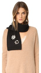 Marc Jacobs Embellished Cashmere Scarf Black