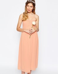 Vila Ruched Bandeau Midi Dress Pink Sand