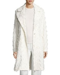 Flocked One Button Coat Ivory