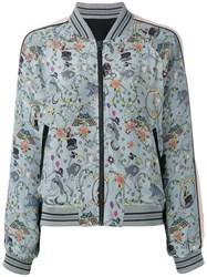 Zadig And Voltaire Skeleton Print Bomber Jacket Grey