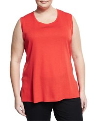 Misook Scoop Neck Knit Tank Bright Red