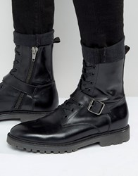 Asos Lace Up Boots In Black Leather With Strap Detail Black