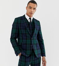 Heart And Dagger Slim Suit Jacket In Blackwatch Check Green