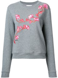 Carven Floral Embroidered Sweatshirt Grey