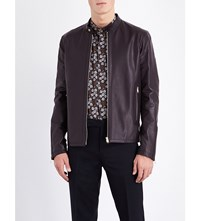 Paul Smith Stand Collar Leather Jacket Burgundy