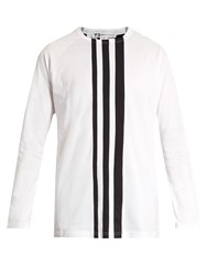 Y 3 Striped Cotton Jersey T Shirt White Multi