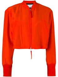 Alexander Wang Cropped Bomber Jacket Women Silk Cotton Polyester 2 Red