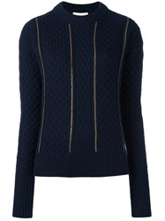 Michael Michael Kors Cable Knit Detail Jumper Blue