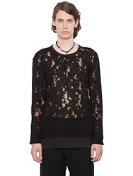 Ann Demeulemeester Linen Devore Effect Long Sleeve T Shirt