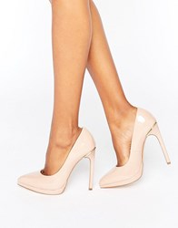 London Rebel Platform Court Shoes Nude Patent Beige