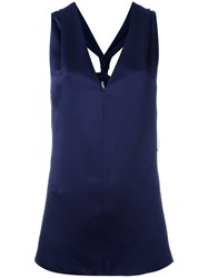 Lanvin Racerback Sleeveless Blouse Women Acetate Viscose 40 Blue