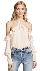 Cooper And Ella Ruffle Cold Shoulder Blouse Pale Pink