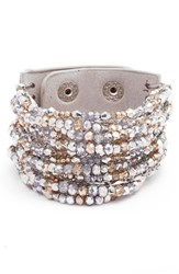 Cristabelle Women's Beaded Leather Cuff Radiance Silver