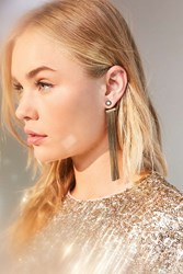 Urban Outfitters Faye Fringe Front Back Earring Gold