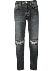 Haikure Distressed Tapered Jeans Black