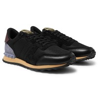 Valentino Garavani Rockrunner Mesh Leather And Suede Sneakers Black