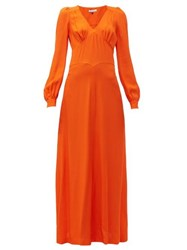 Bella Freud Nova Balloon Sleeve Crepe Dress Orange