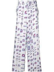 Marni Patterned Loose Fit Trousers White