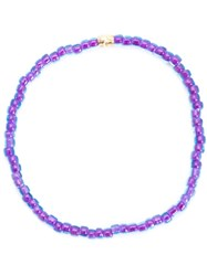 Luis Morais Skull Spacer Beaded Bracelet Pink And Purple