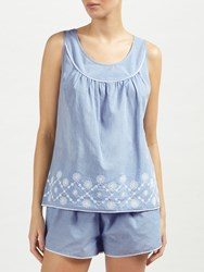 John Lewis June Embroidered Camisole And Short Set Blue White