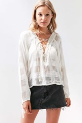 Ecote Neverland Lace Up Blouse Ivory