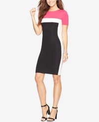 American Living Colorblocked Rib Knit Dress Black Cream Pink