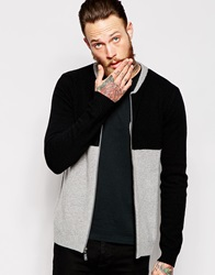 Asos Lambswool Rich Bomber Cardigan With Colour Blocking Greyblack