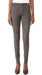 Alice Olivia Front Zip Suede Leggings Charcoal