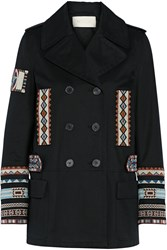 Valentino Double Breasted Bead Embellished Cotton Twill Jacket Black