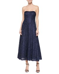 Kay Unger New York Strapless Lace Tea Length Cocktail Dress Navy
