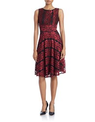 Gabby Skye Lace Fit And Flare Dress Black Crimson