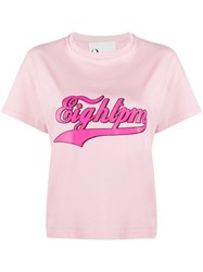 8Pm Crew Neck Logo T Shirt Pink