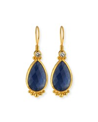 Elements 24K Constantine Sapphire Teardrop Earrings Gurhan Blue