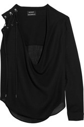 Anthony Vaccarello Lace Up Wool Blend Blouse Black